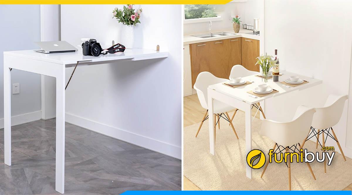 Hình ảnh bàn ăn treo tường chân cao thoáng đẹp màu trắng