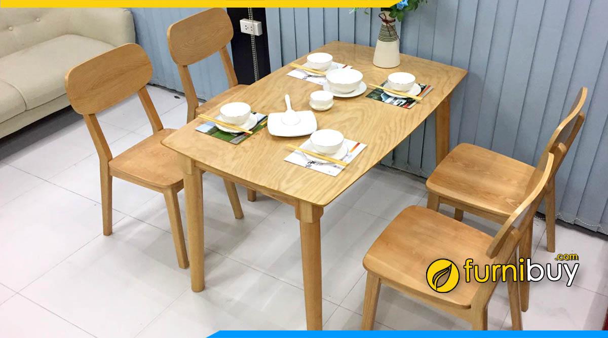 Ảnh Mẫu bàn ăn 4 ghế gỗ sồi tần bì hiện đại