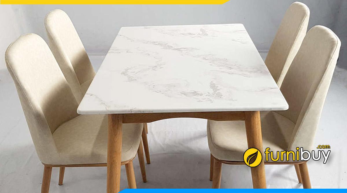 Mẫu bàn ăn mặt đá đẹp dễ lau chùi, vệ sinh