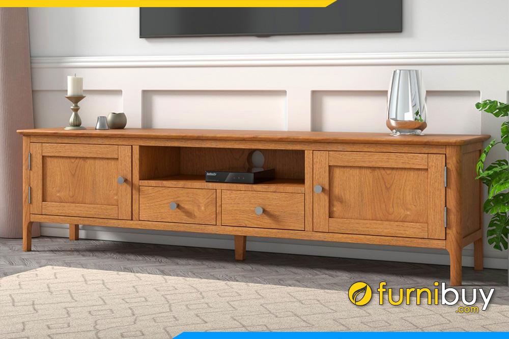 hình ảnh Mẫu kệ tivi gỗ tự nhiên đẹp phòng khách hiện đại