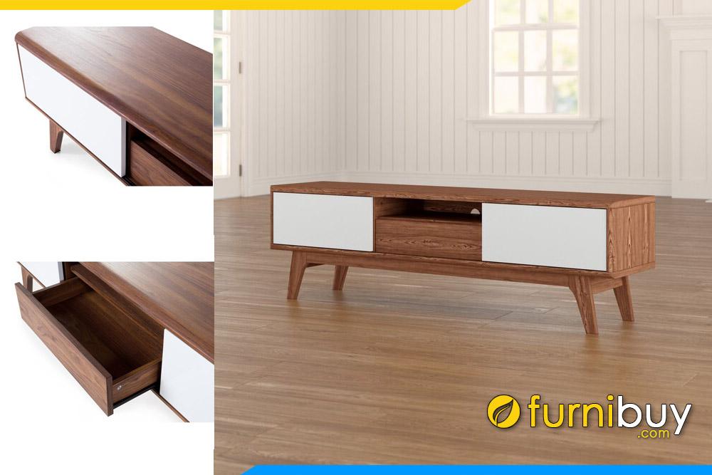 Mẫu tủ tivi gỗ sồi Nga 1m8 đóng theo yêu cầu tại Furnibuy FBK1001