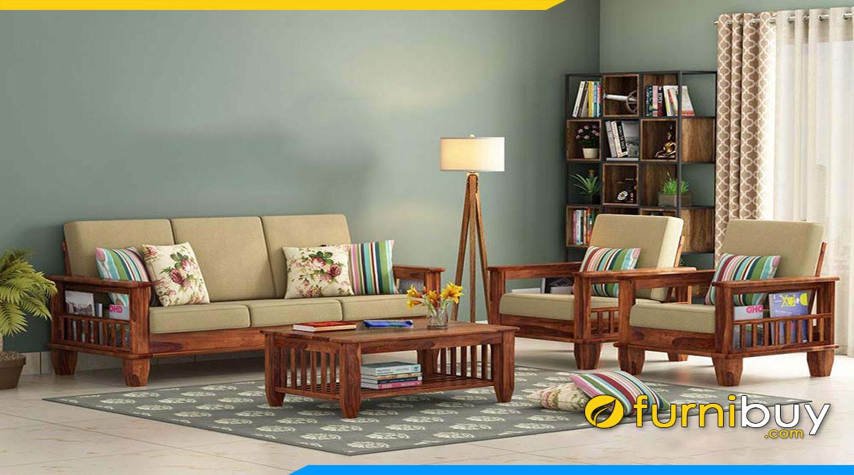 sofa phong khach dep dang vang bang go cao su