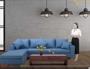 Sofa góc nỉ màu xanh coban FB170904