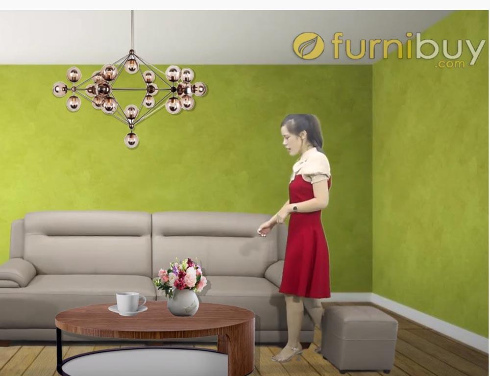 sofa văng da màu ghi xám FB180901