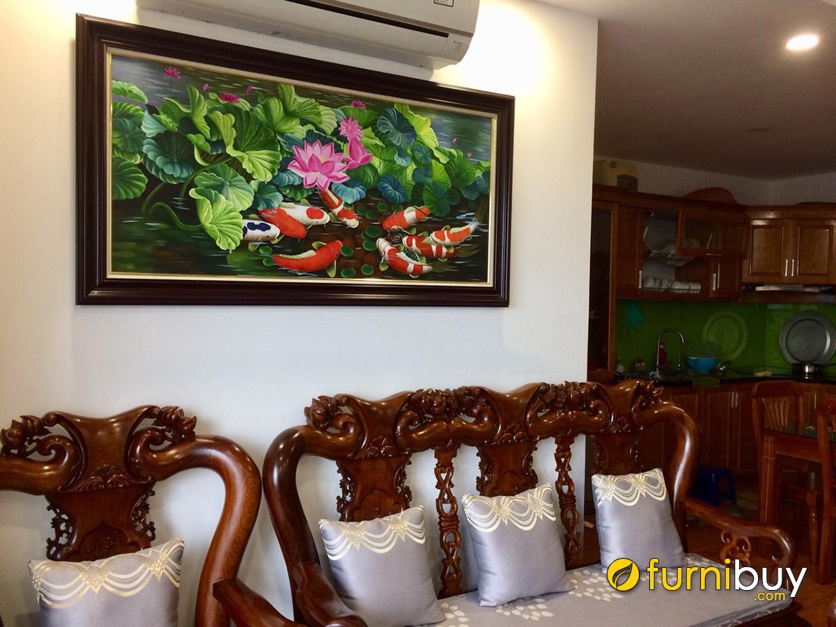Hình ảnh Tranh cá chép hoa sen khổ ngang treo tường phòng khách đẹp