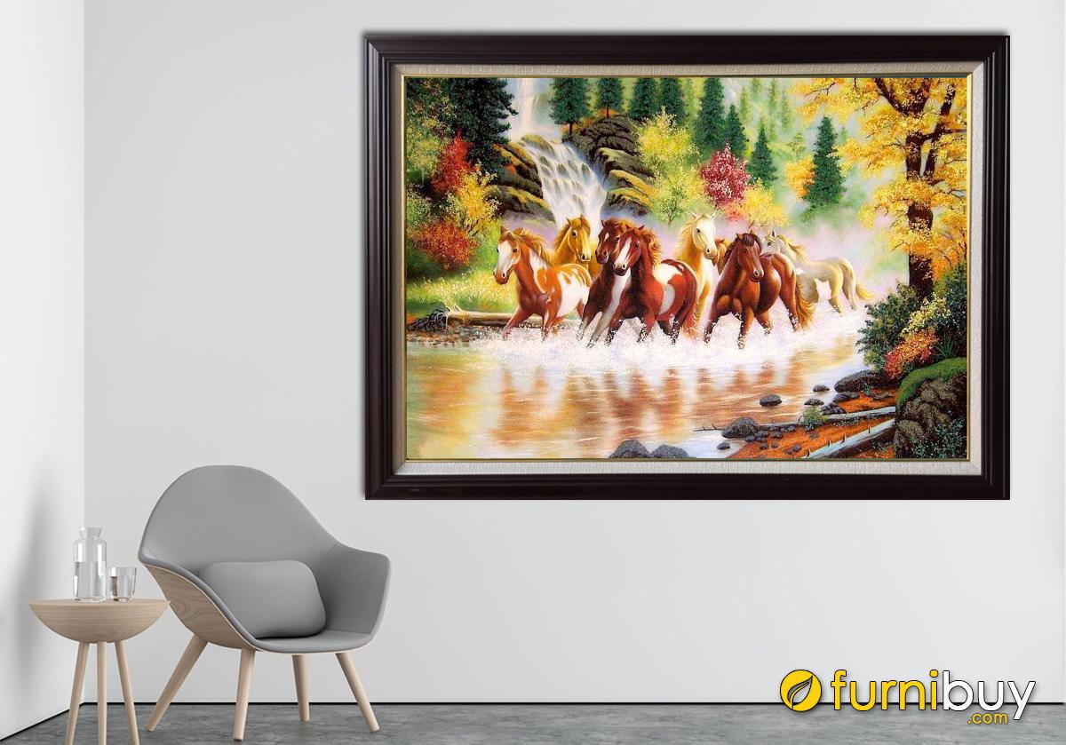 Hình ảnh Tranh bát mã treo tường vẽ sơn dầu đẹp sang trọng