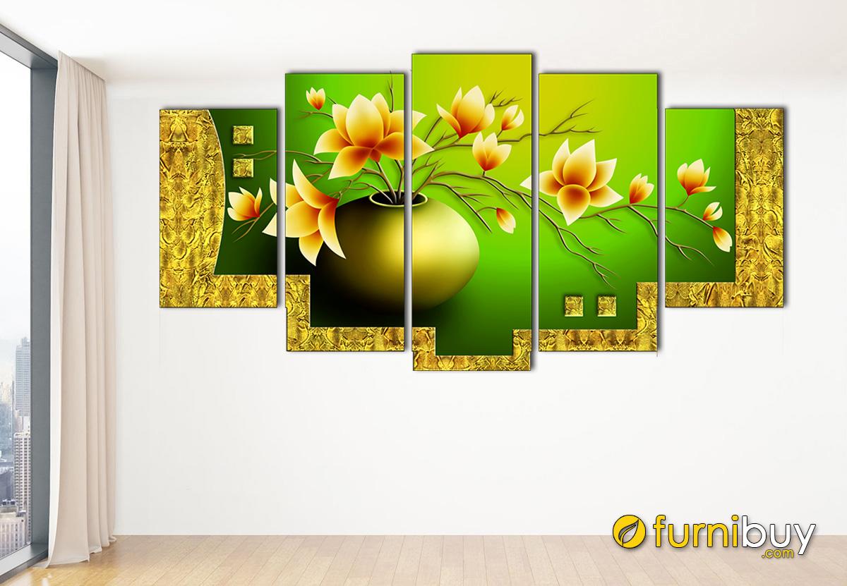 Hình ảnh Tranh bình hoa sen vàng treo tường đẹp hiện đại