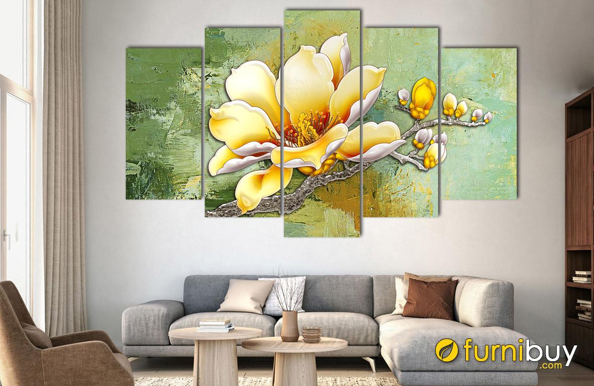 Hình ảnh Tranh bông mộc lan in giả sơn dầu đẹp sang trọng