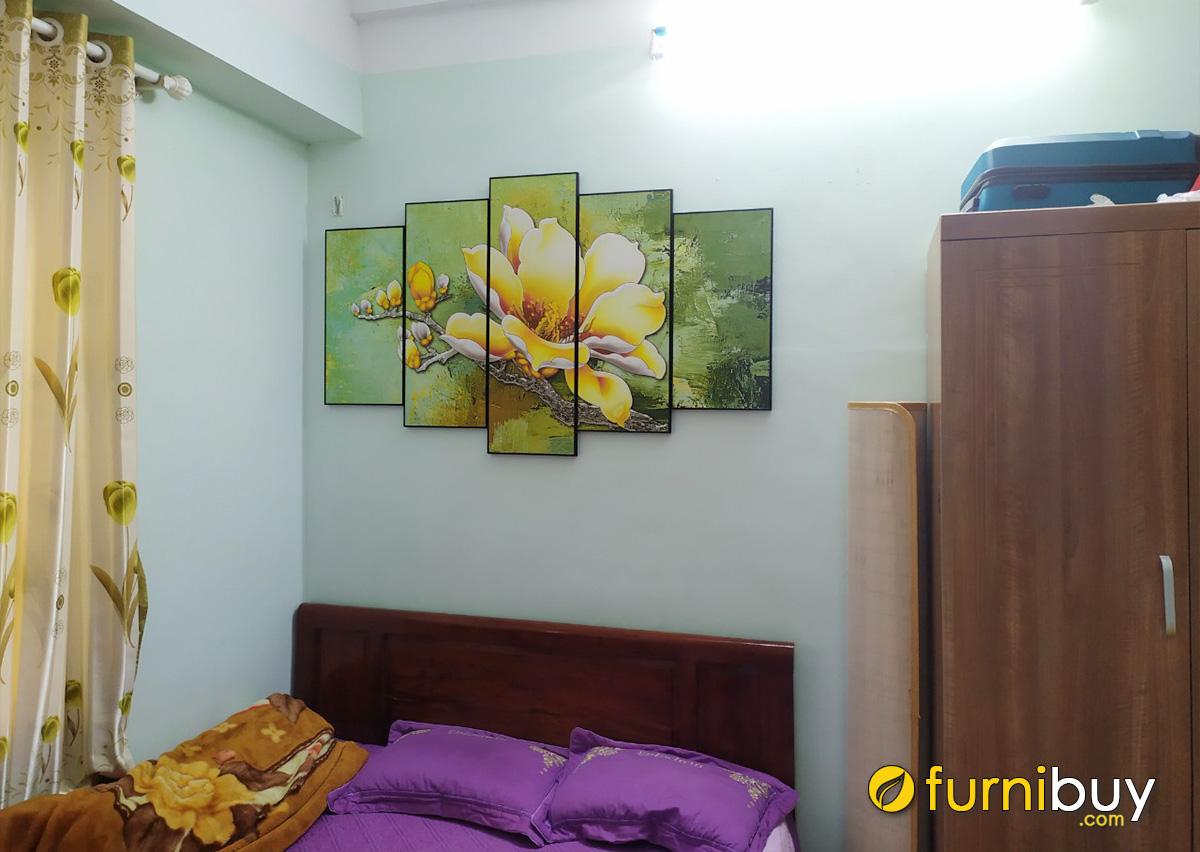 Hình ảnh Tranh bông mộc lan treo tường phòng ngủ