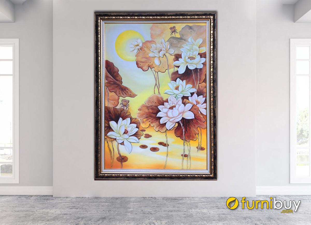 Hình ảnh Tranh bông sen trắng vẽ sơn dầu đẹp treo tường