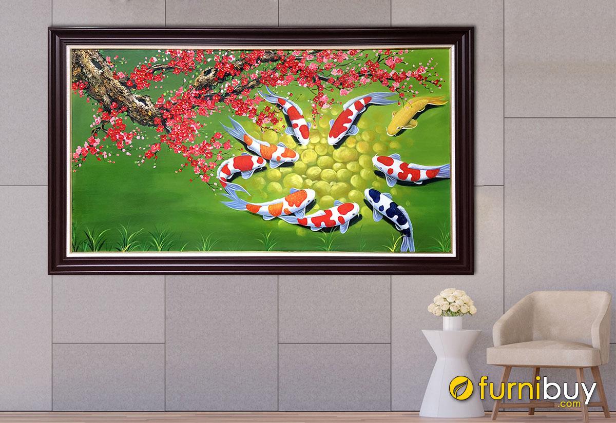 Hình ảnh Tranh cá chép hoa đào treo tường đẹp