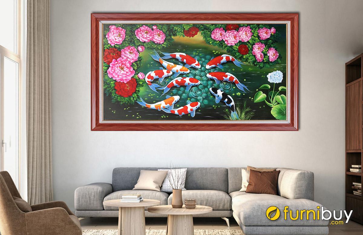 Hình ảnh Tranh cá chép hoa mẫu đơn vẽ sơn dầu đẹp sang trọng