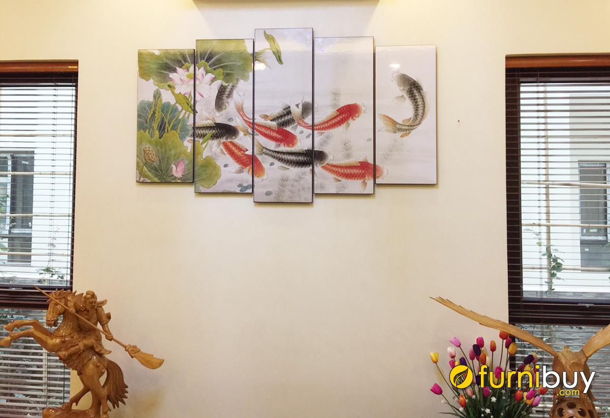 Hình ảnh Tranh cá chép hoa sen treo tường phòng khách đẹp