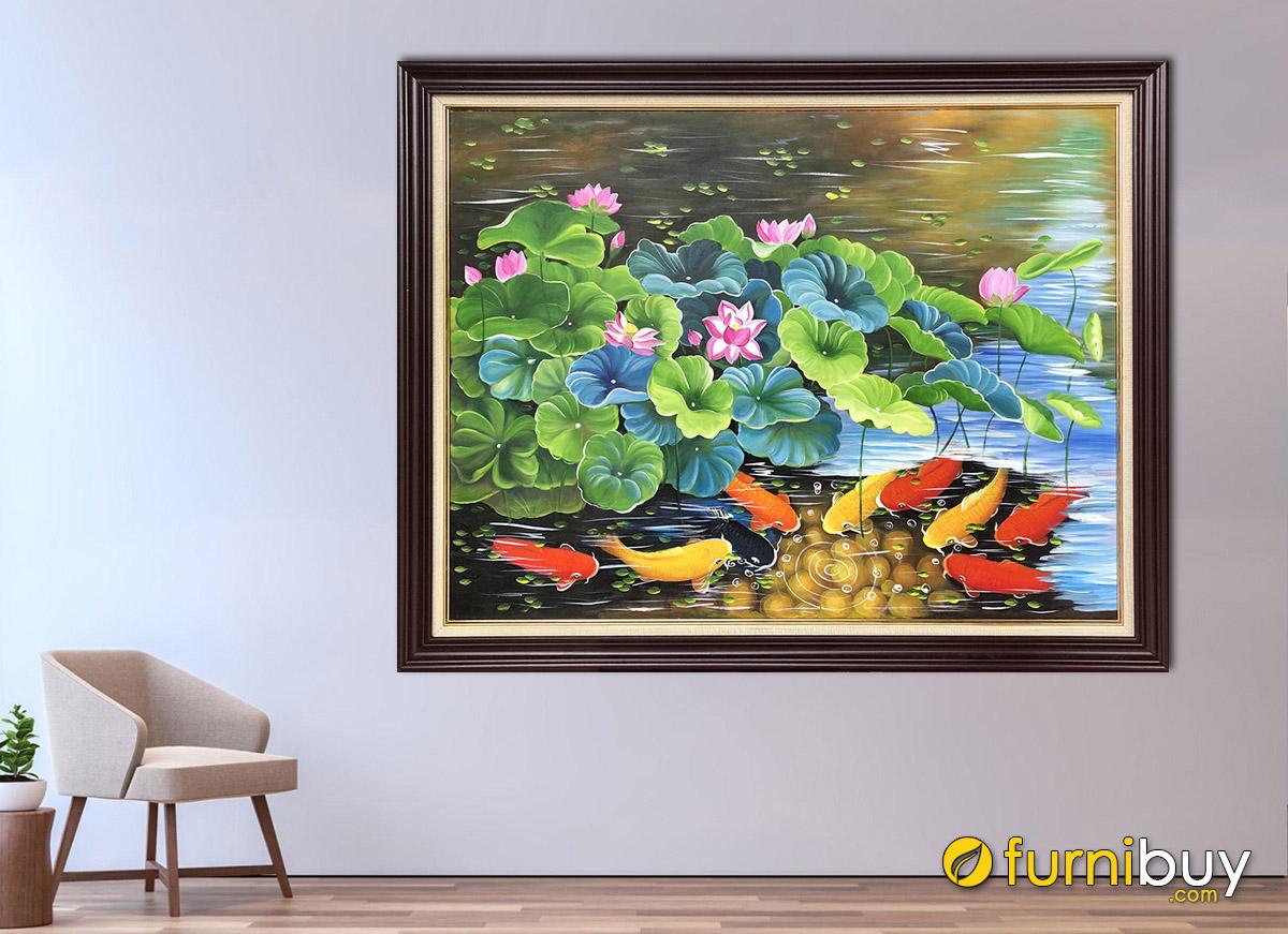 Hình ảnh Tranh cá chép hoa sen vẽ sơn dầu treo tường đẹp