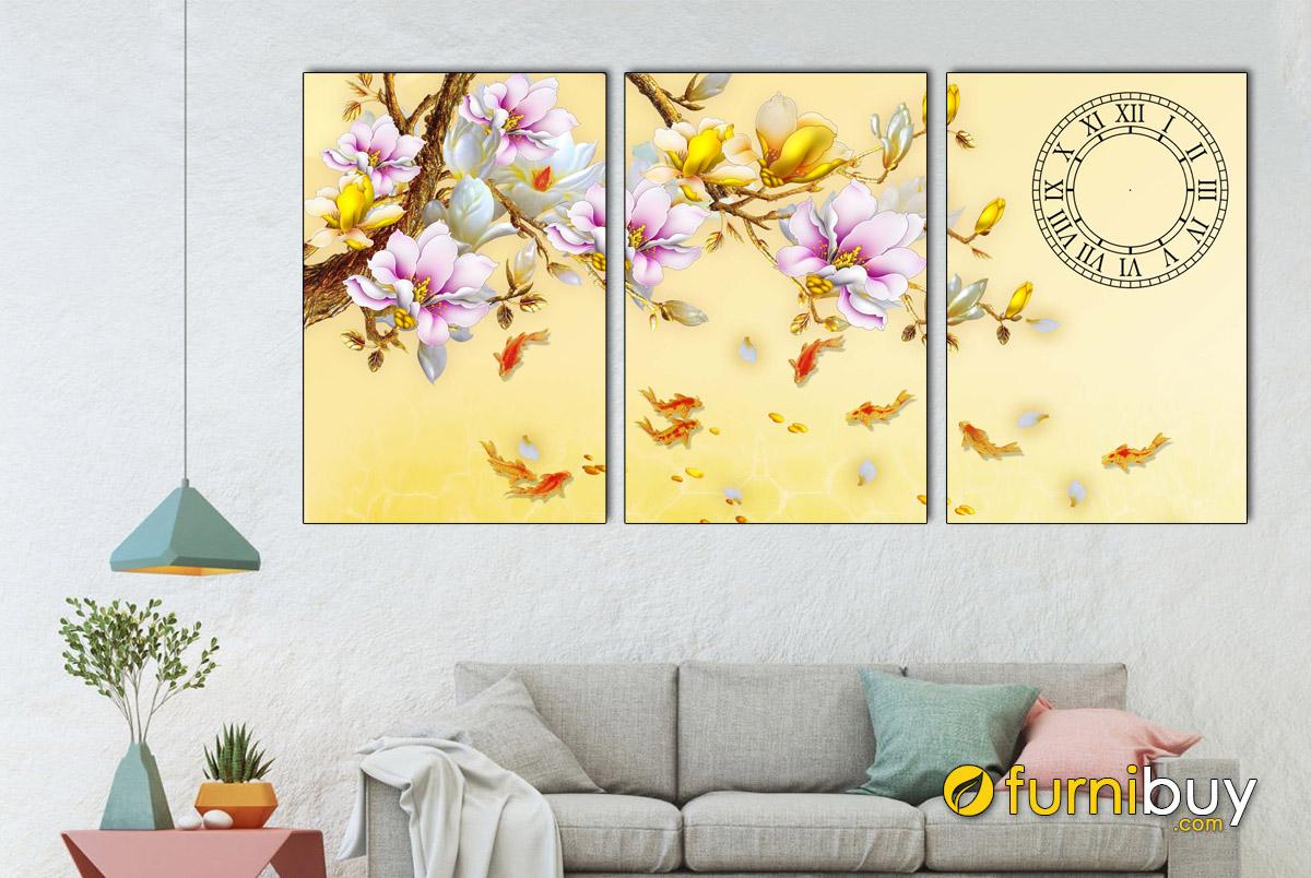 Hình ảnh Tranh cá chép treo tường đẹp in ép gỗ 3 tấm