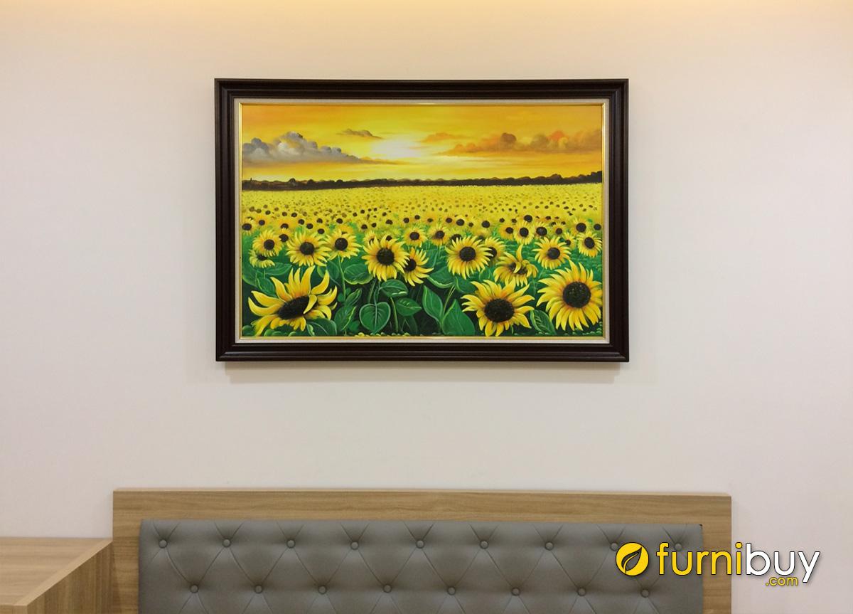 Hình ảnh Tranh cánh đồng hoa hướng dương treo phòng ngủ