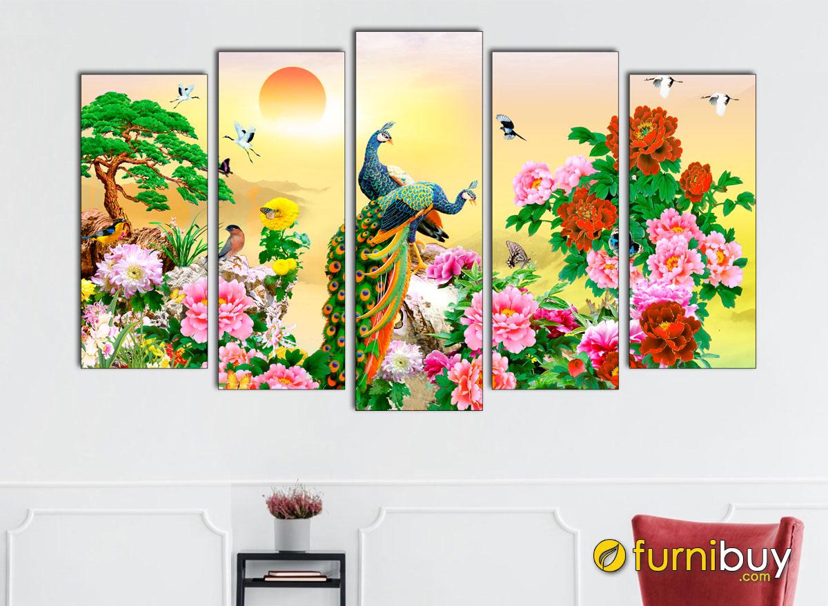 Hình ảnh Tranh chim công hoa mẫu đơn treo tường đẹp ý nghĩa