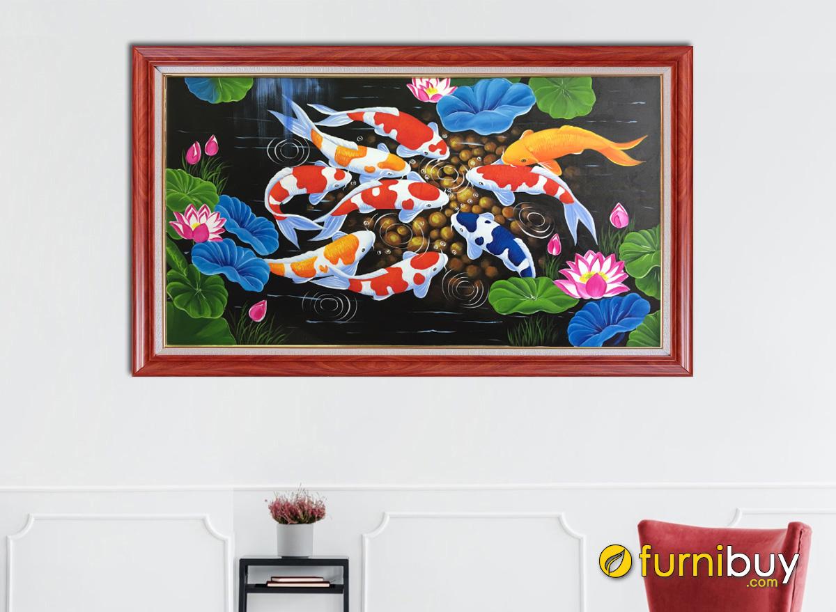 Hình ảnh Tranh cửu ngư quần hội vẽ sơn dầu 1 tấm