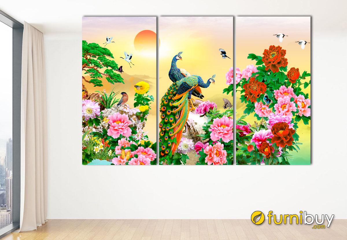 Hình ảnh Tranh đôi công và hoa mẫu đơn treo tường ý nghĩa