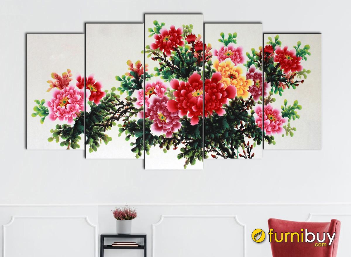 Hình ảnh Tranh hoa mẫu đơn đỏ đẹp ấn tượng treo tường