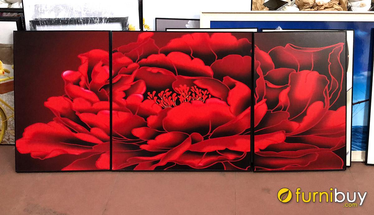 Hình ảnh Tranh hoa mẫu đơn màu đỏ treo phòng ngủ đẹp