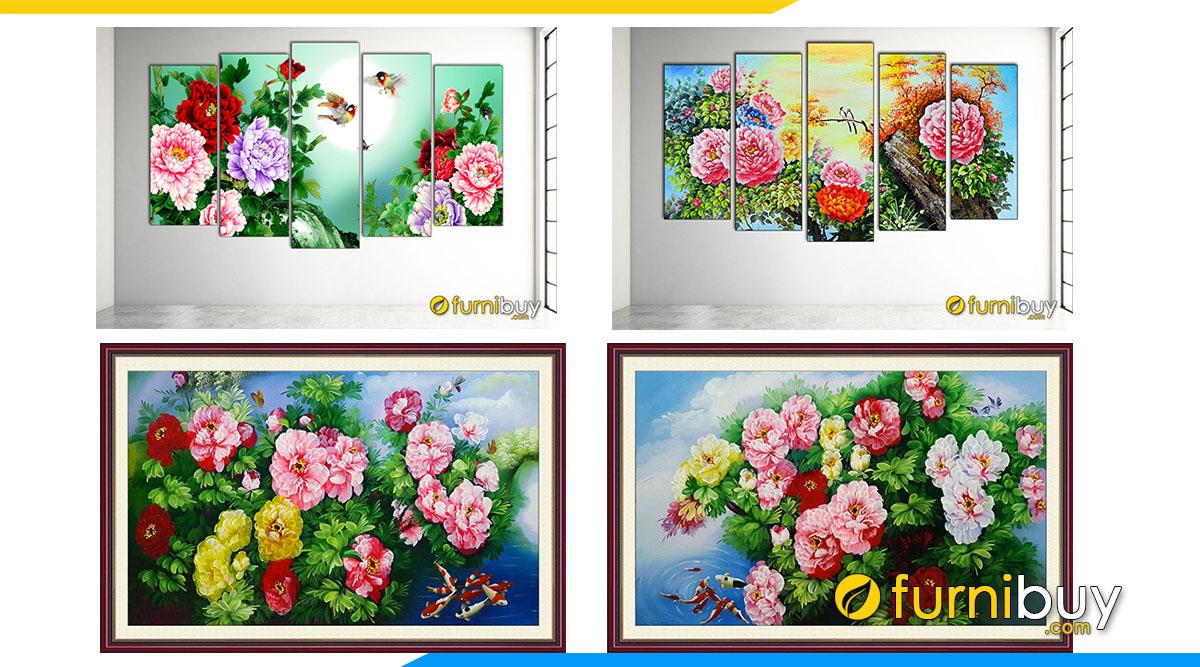 Hình ảnh 50+ Tranh Hoa Mẫu Đơn Treo Tường Phong Thủy Đẹp Ý Nghĩa!!!