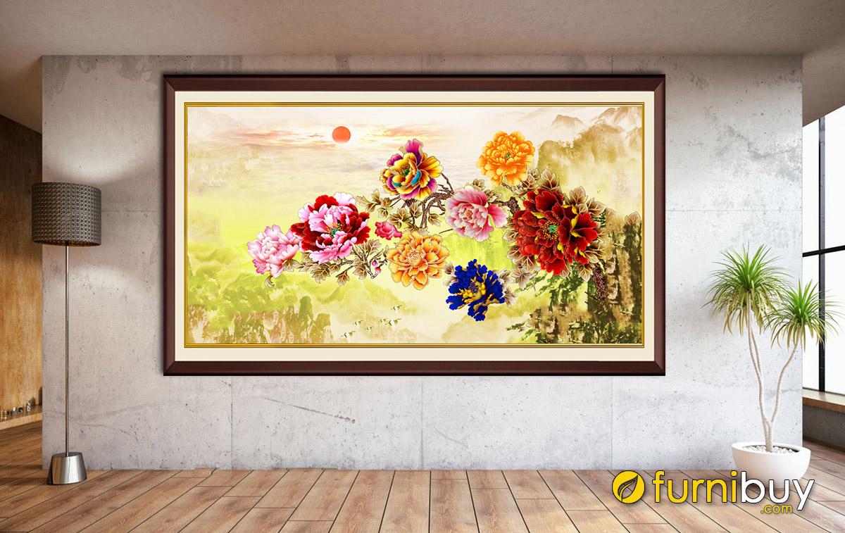 Hình ảnh Tranh hoa mẫu đơn vàng thiết kế 1 tấm treo tường