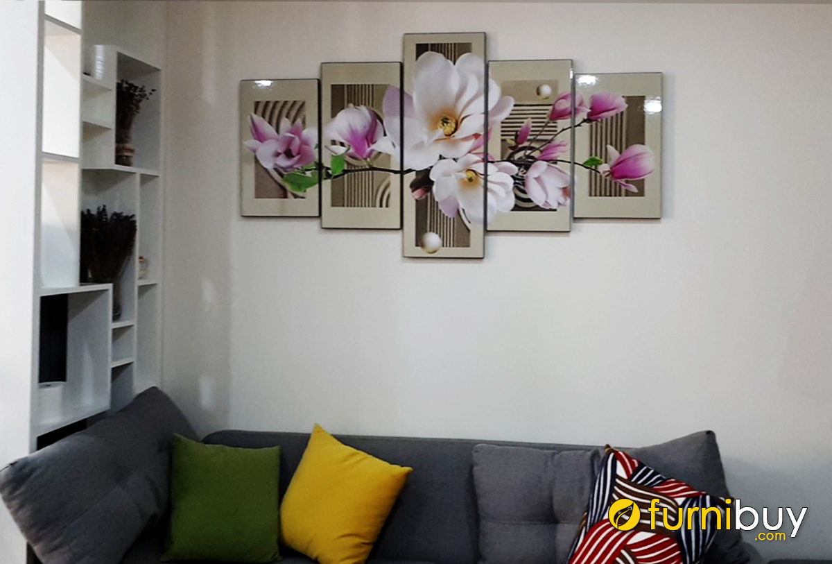 Hình ảnh Tranh hoa mộc lan trang trí tường phòng khách đẹp ý nghĩa
