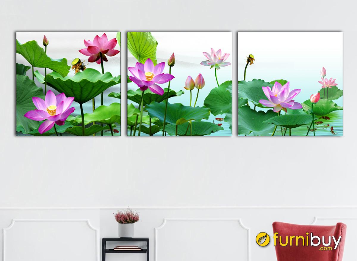 Hình ảnh Tranh hoa sen đẹp ý nghĩa phong thủy treo tường