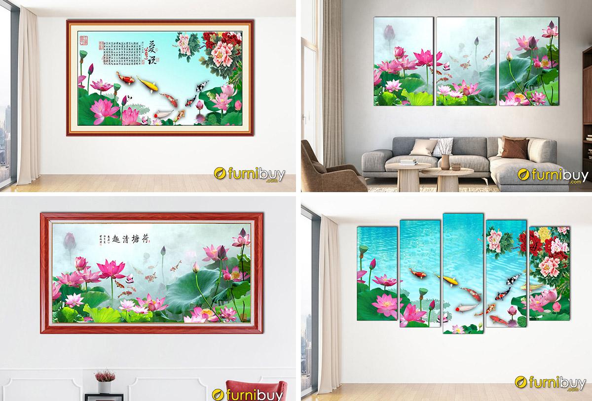 Hình ảnh Bức tranh hoa sen và cá chép treo tường đẹp