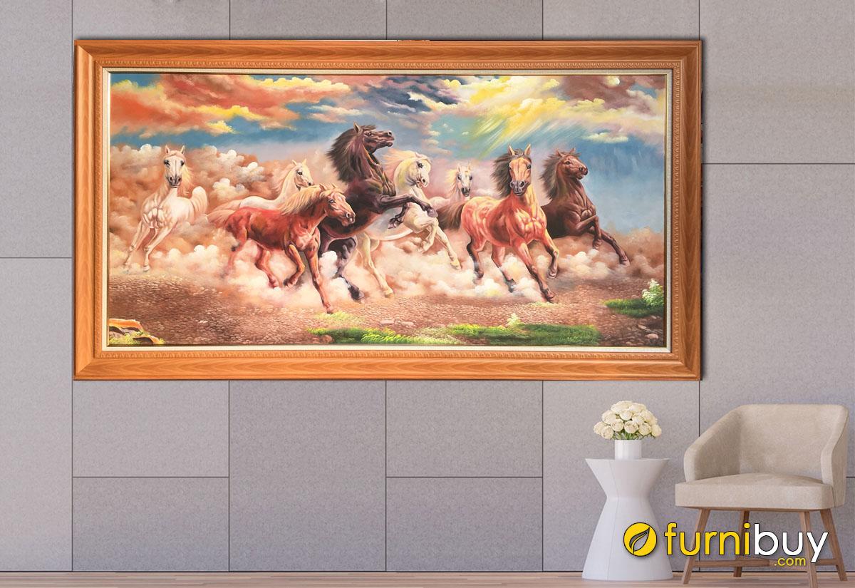 Hình ảnh Tranh mã đáo thành công vé sơn dầu treo tường đẹp ý nghĩa