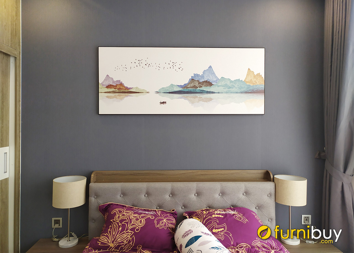 Hình ảnh Tranh ngang treo tường phòng ngủ đẹp bố cục dàn trải