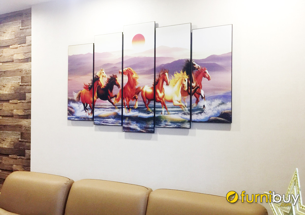 Hình ảnh Tranh ngựa ghép bộ 5 tấm treo phòng khách đẹp