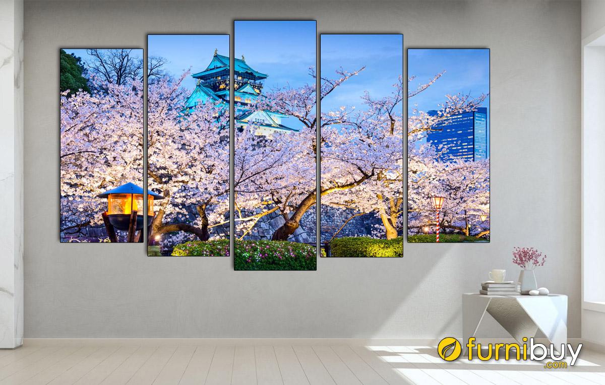 Hình ảnh Tranh phong cảnh lâu đài Nhật Bản đẹp sang trọng