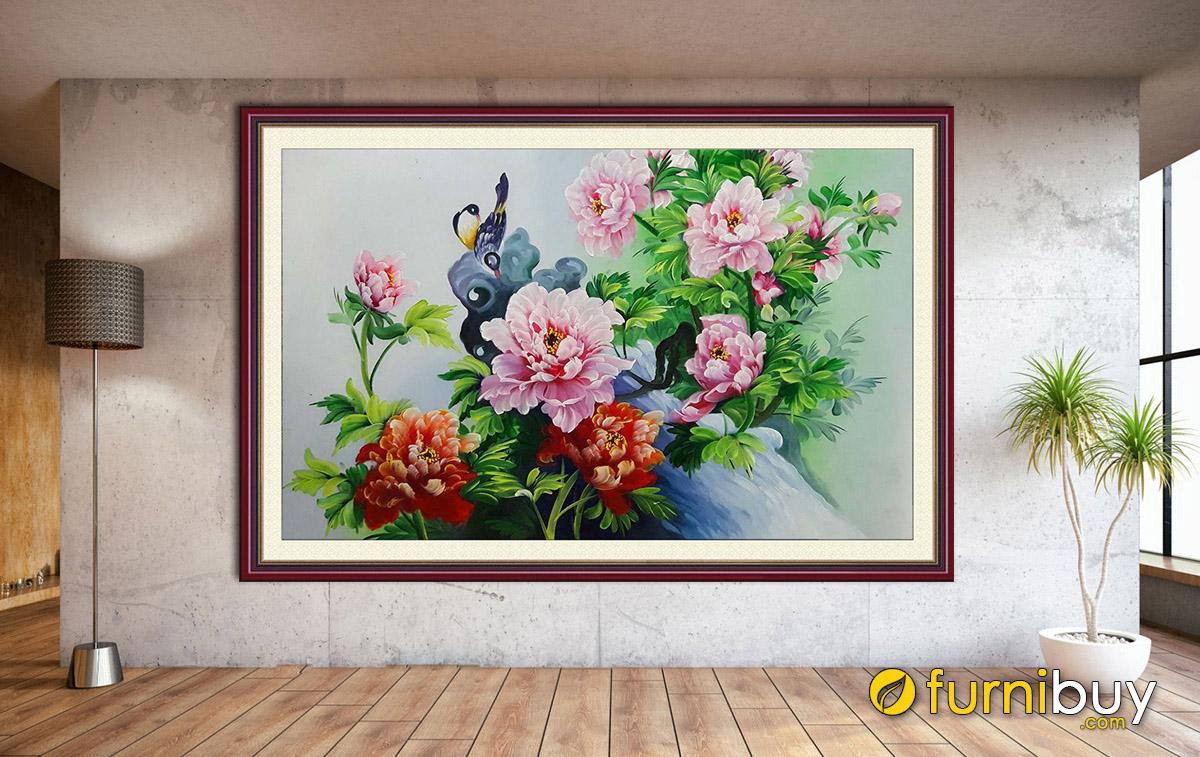 Hình ảnh Tranh phong thủy treo tường hoa mẫu đơn