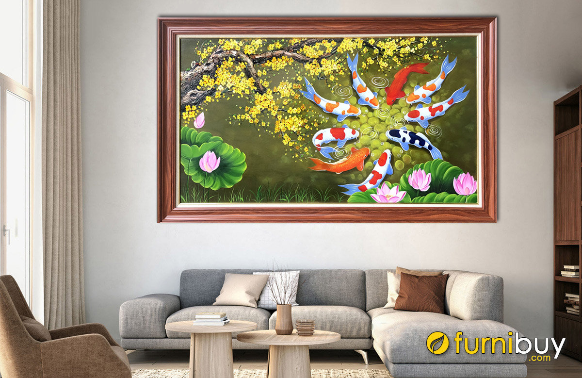 Hình ảnh Tranh sơn dầu cửu ngư quần hội treo tường đẹp