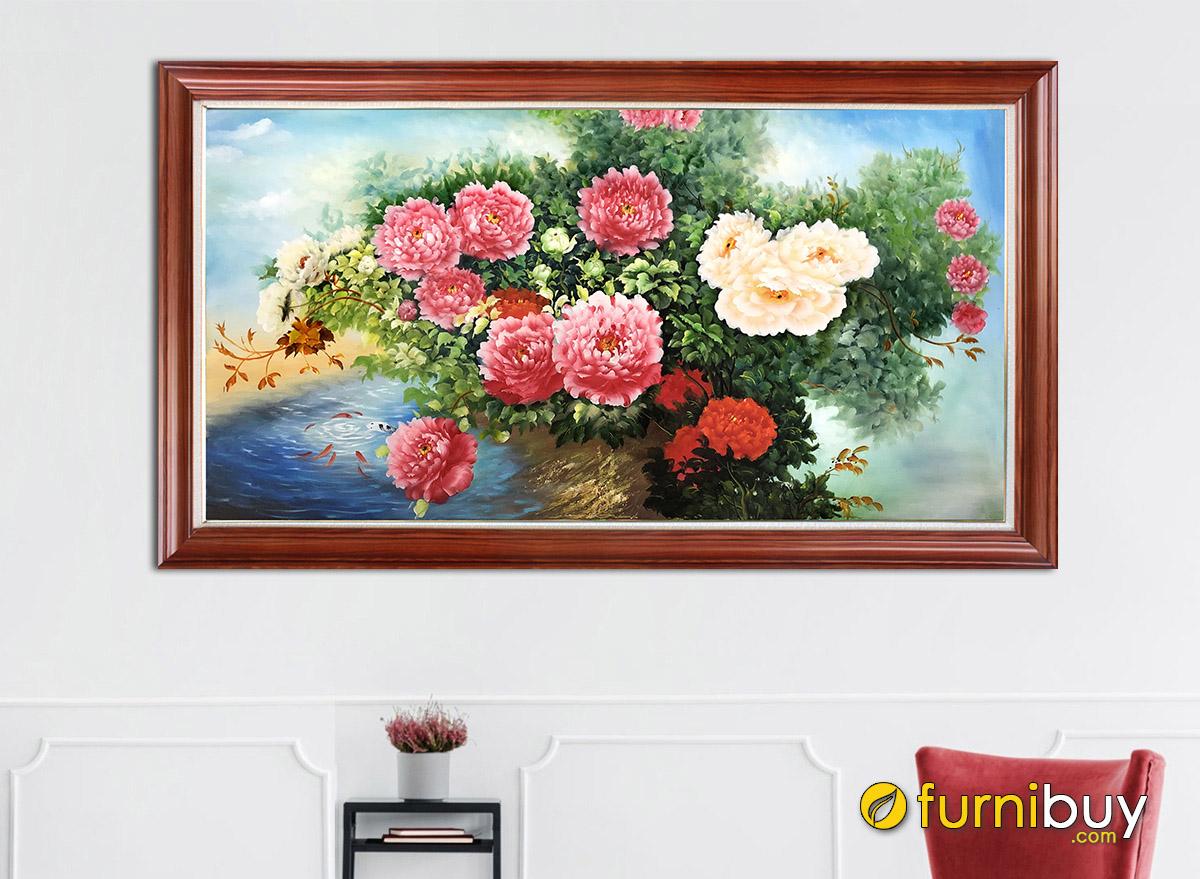 Hình ảnh Tranh sơn dầu hoa mẫu đơn đẹp sang trọng