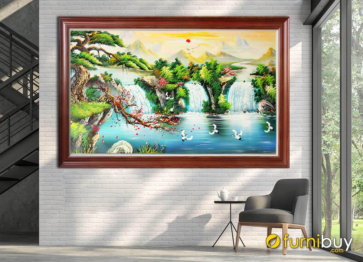 Hình ảnh Tranh sơn dầu sơn thủy hữu tình thiết kế 1 tấm