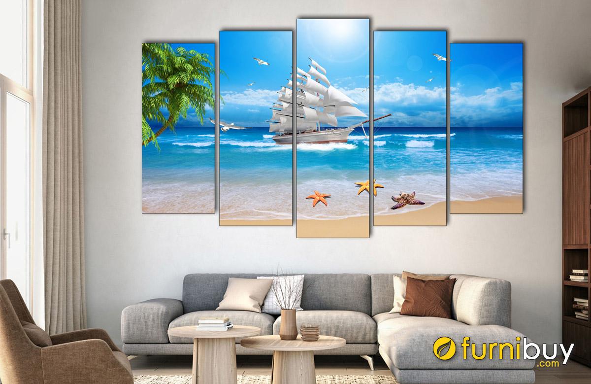 Hình ảnh Tranh thuận buồm xuôi gió bằng gỗ treo tường