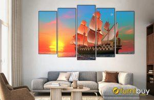 Hình ảnh Tranh thuyền biển treo tường ánh sáng mặt trời