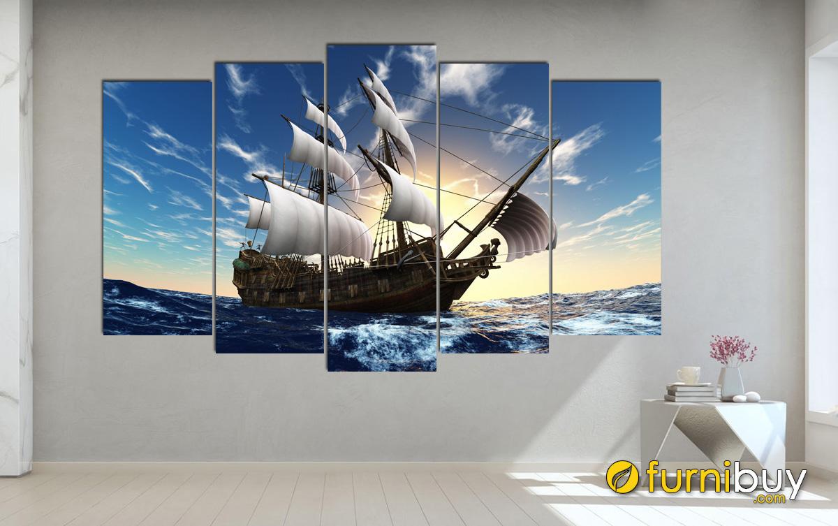 Hình ảnh Tranh thuyền biển treo tường đẹp và ý nghia