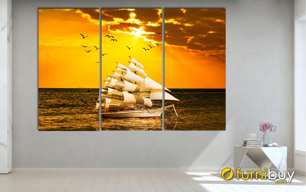 Hình ảnh Tranh thuyển biển treo tường đẹp ý nghĩa