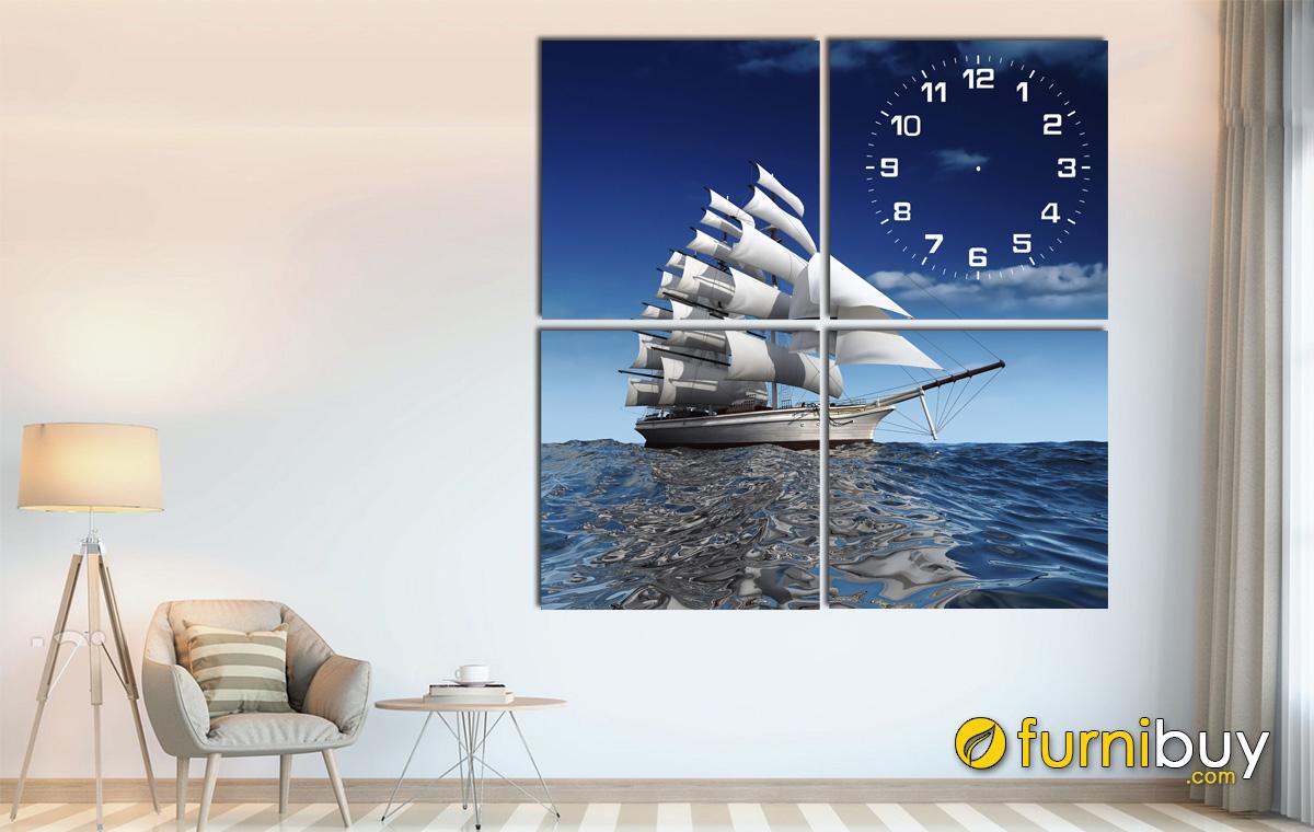 Hình ảnh Tranh thuyển biển treo tường ghép bộ độc đáo