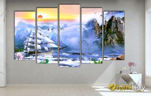 Hình ảnh Tranh thuyền buồm treo tường đẹp hiện đại