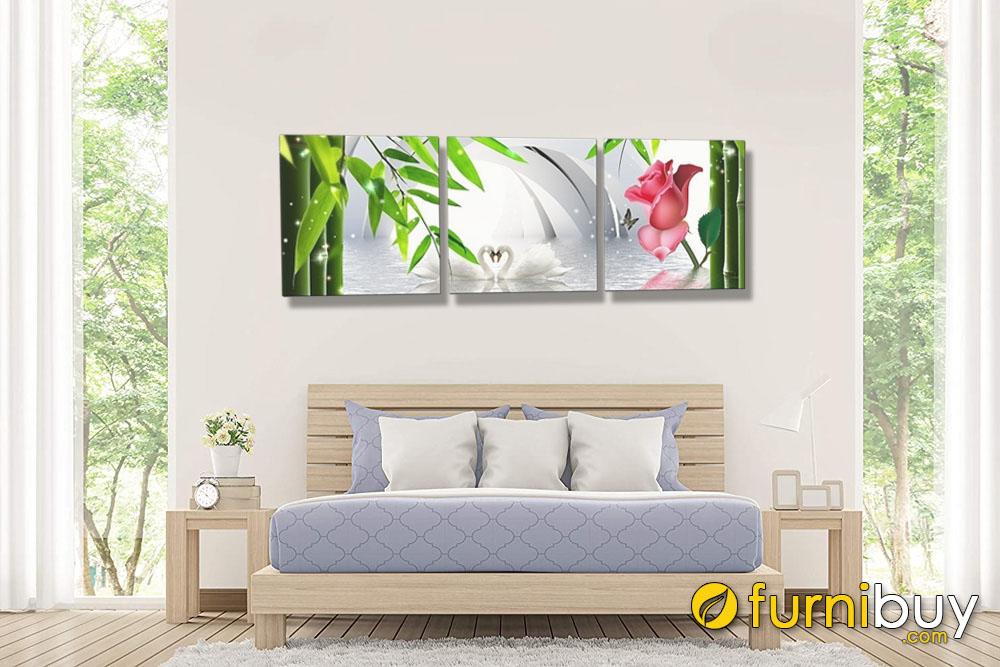 Tranh trang trí phòng ngủ đôi thiên nga hồ nước tạo cảm giác mát mẻ cho không gian AmiA 1334