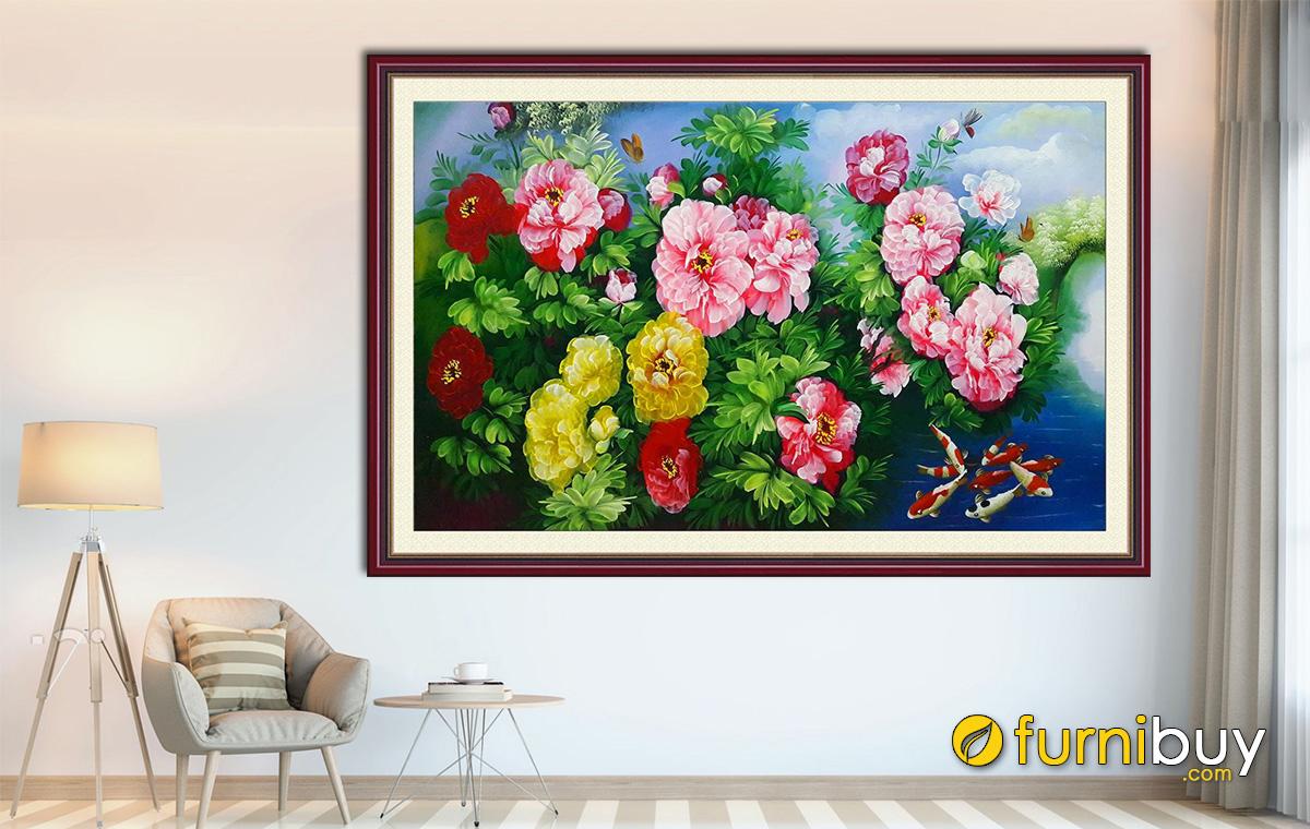 Hình ảnh Tranh treo tường cá chép hoa mẫu đơn đẹp