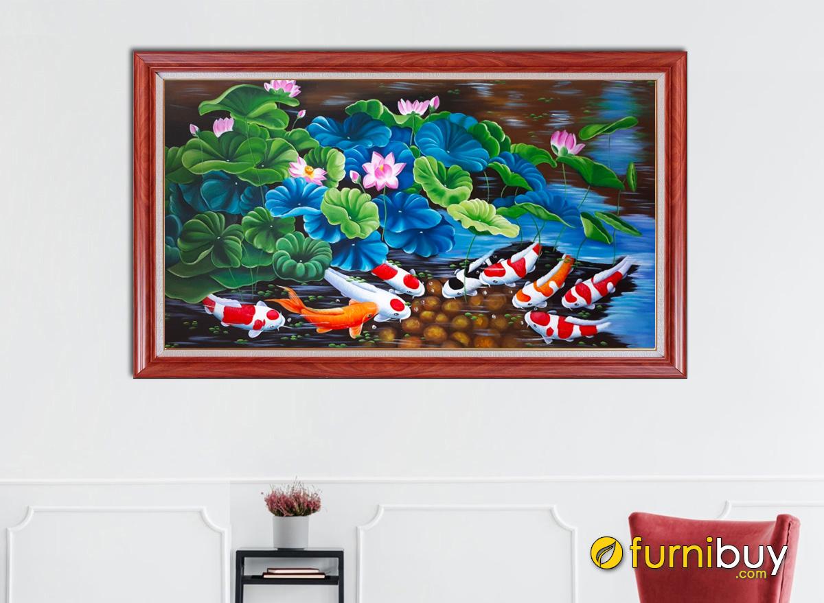 Hình ảnh Tranh treo tường cá chép hoa sen vẽ sơn dầu