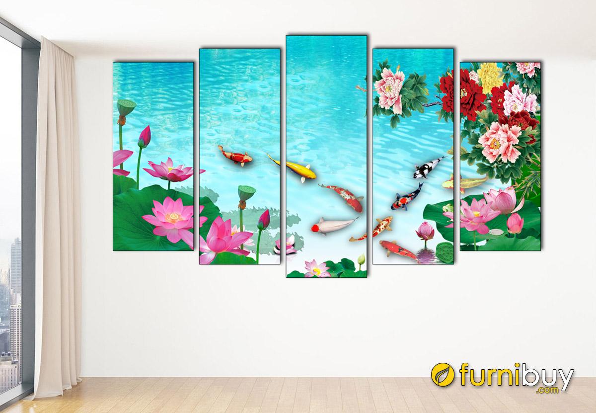Hình ảnh Tranh treo tường cửu ngư quần hội in ép gỗ ghép bộ 5 tấm