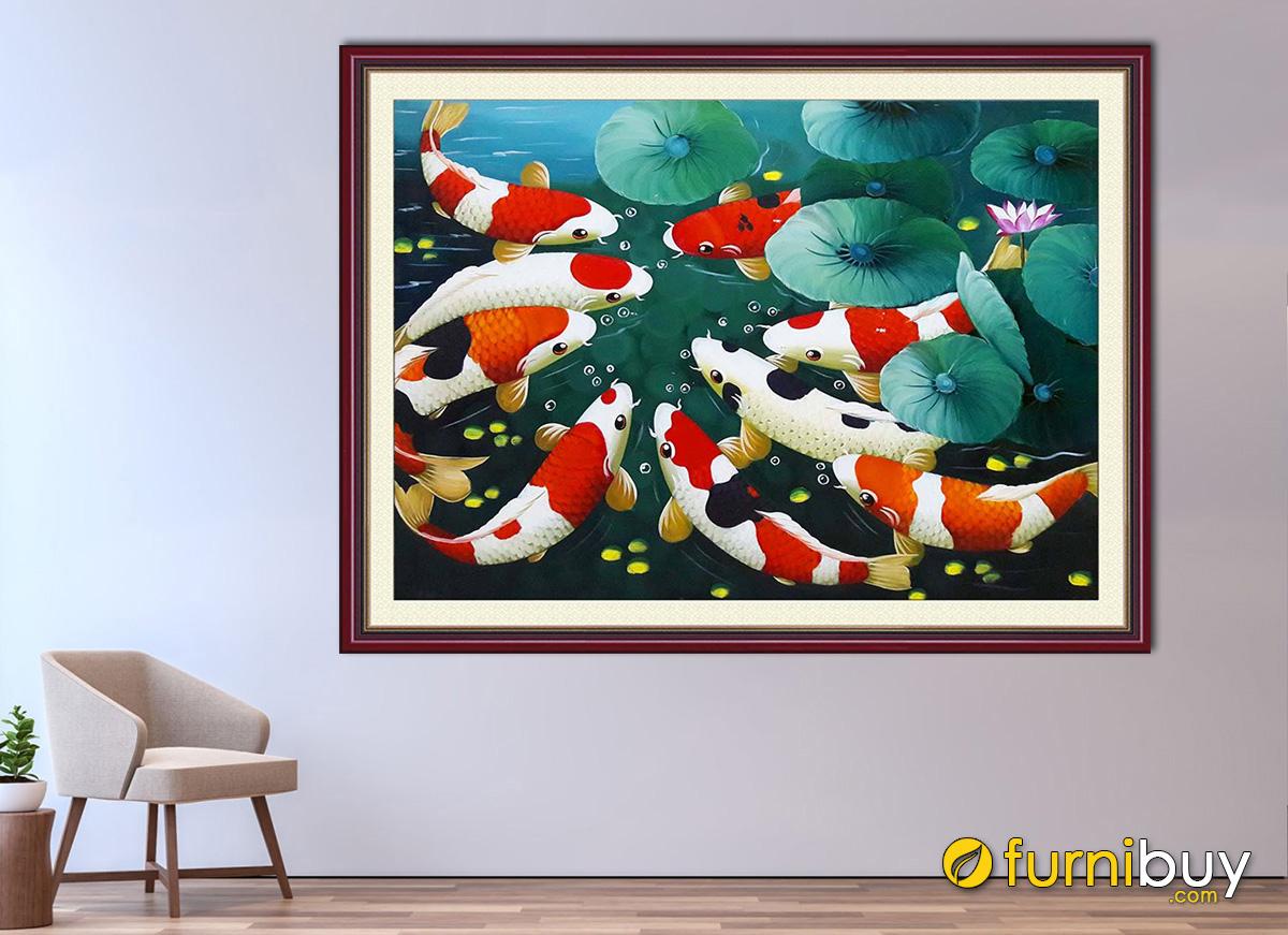 Hình ảnh Tranh treo tường cửu ngư quần hội vẽ sơn dầu đẹp