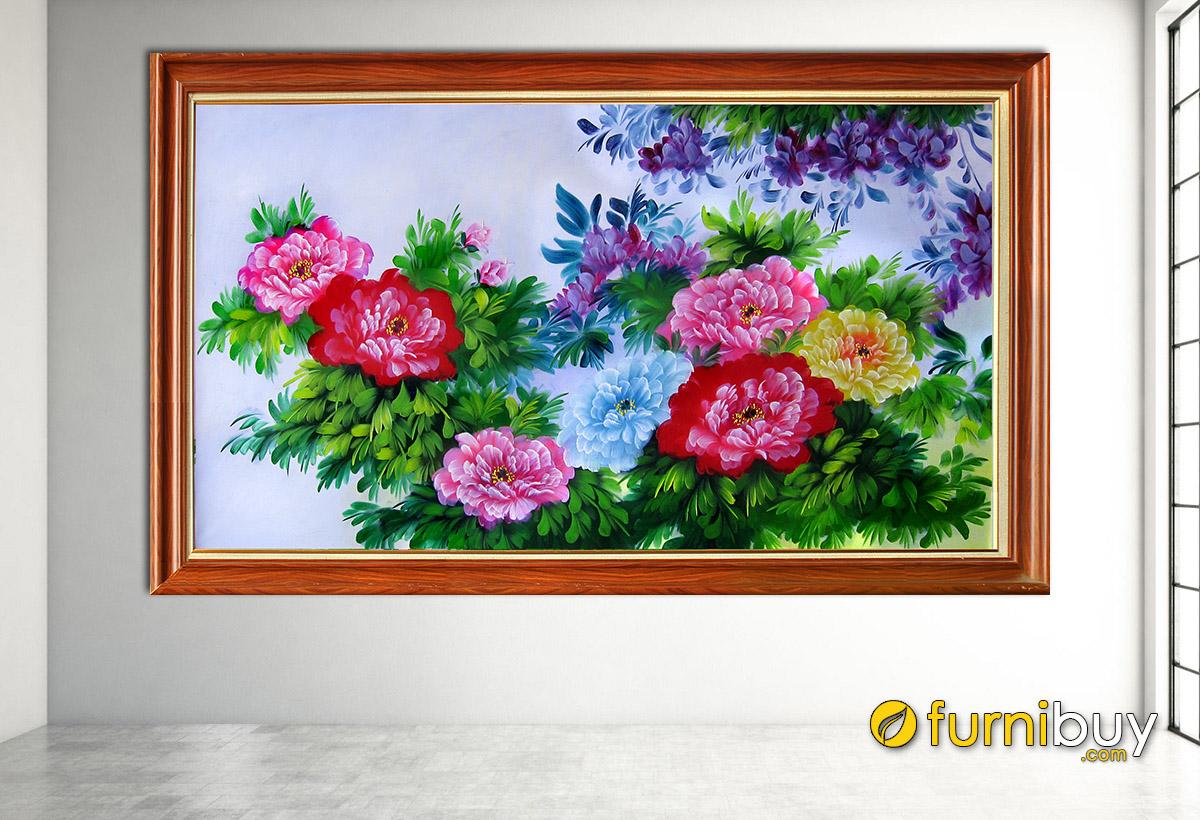Hình ảnh Tranh treo tường hoa mẫu đơn 8 bông đẹp ý nghĩa